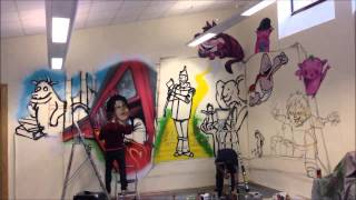 Nyces Tower Hampton Hargate Library Aerosol Mural Timelapse
