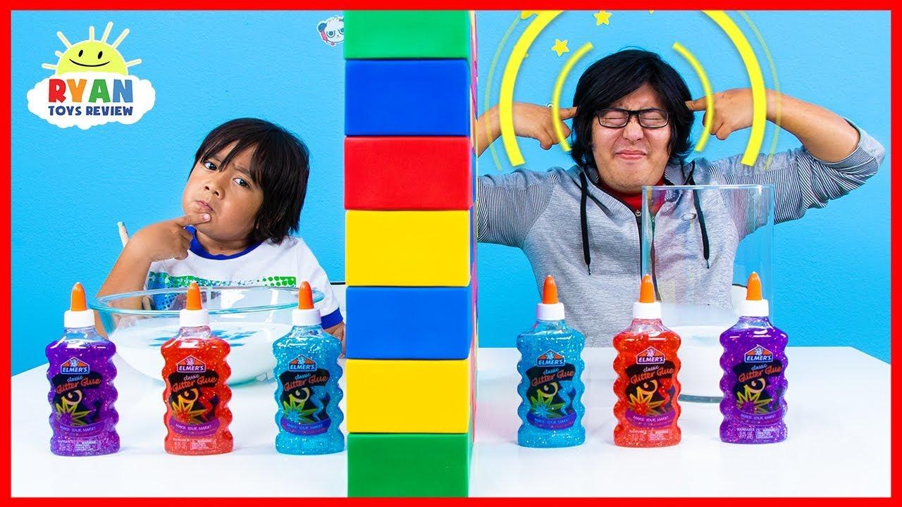 Twin Telepathy Slime Challenge Ryan vs. Daddy! - YouTube