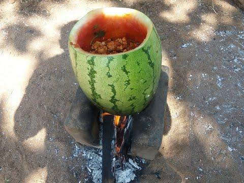 Cooking Watermelon Chicken in My Village - Spicy Sweet Taste