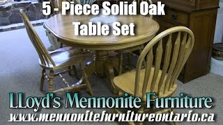 Mennonite 5 Piece Oak Kitchen Table and Chairs