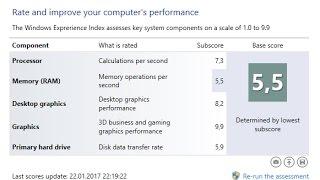 Как проверить Windows 10 на производительность1 способ: строки в отчете: SystemScore — индекс производительности Windows 10, вычисленный по минимальному значению.Cpuscore — процессорMemoryscore — оперативная памятьDiskscore — производительность жесткого диска.2 способ -  ссылка http://winaero.com/download.php?view.79