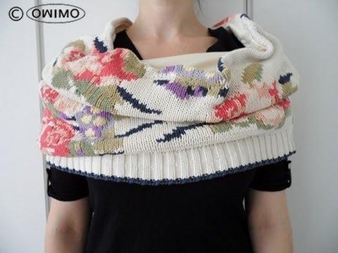 Wie man einen Endlos Schal aus einem Pulli macht – OWIMO Design Upcycling