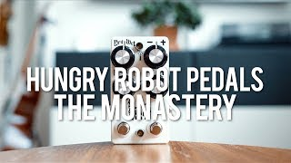 """My demo of the Hungry Robot Pedals The Monastery!http://www.hungryrobotpedals.com/""""The Monastery is a Dual Preset, Polyphonic Octave Generator that allows for simultaneous octave up and octave down with minimal latency and excellent tracking anywhere on the neck, even with multiple notes.  The Monastery is inspired by the rich multi-layered timbre of vintage organs.  The Monastery features highly intuitive controls.  I deviated from the standard three knob """"Dry,Up,Down"""" controls used in many octave pedals and went for a more intelligent crossfade/pan arrangement.  The biggest advantage of this setup is that the volume remains at unity-gain no matter where you set the knobs.  The left knobs are the """"Dry/Wet"""" controls.  They adjust the ratio of wet and dry and can go from 100% wet to 100% dry with an even split at twelve o'clock.  The right knobs are the """"+/-"""" knobs.  They work in a similar matter, but control the ratio of octave up and octave down.  The most compelling aspect of The Monastery is the dual preset function.  You can seamlessly cycle between two presets with the right footswitch.  The top LED denotes which row of controls is active.  If the LED is lit, the top row of knobs is active.  If the LED is unlit, the bottom row is active.""""Guitar: Fano PX6Amp: Tone King 20th Anniversary ImperialCables: Toaster Cables - http://www.toastercables.com/Patch cables: Mulder Audio - http://www.mulderaudio.com/Contact: livingroomgear@gmail.comhttps://www.patreon.com/livingroomgeardemoshttps://www.facebook.com/livingroomgearhttps://twitter.com/livingroomgearhttp://instagram.com/livingroomgeardemoshttp://ask.fm/livingroomgearhttp://livingroomgeardemos.tumblr.com"""