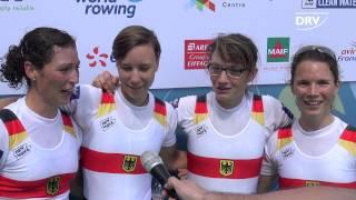 Katrin Thoma, Leonie Pieper, Lena Müller und Anja Noske im Interview nach dem Titelgewinn bei der Ruder-WM in Aiguebelette,...