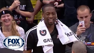 Dwyane Wade Mops Floor During LeBron's Interview