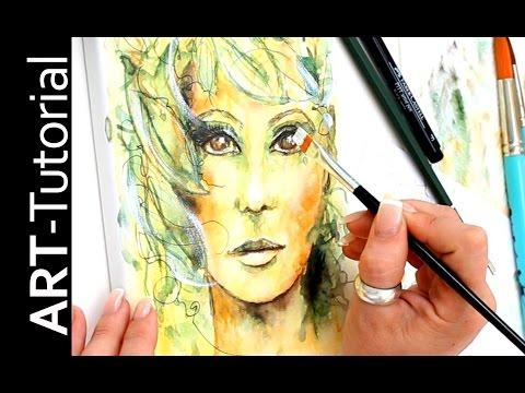 Portrait malen / zeichnen mit Aquarellstiften auf Leinwand zAcheR-fineT Tutorial – painting portrait