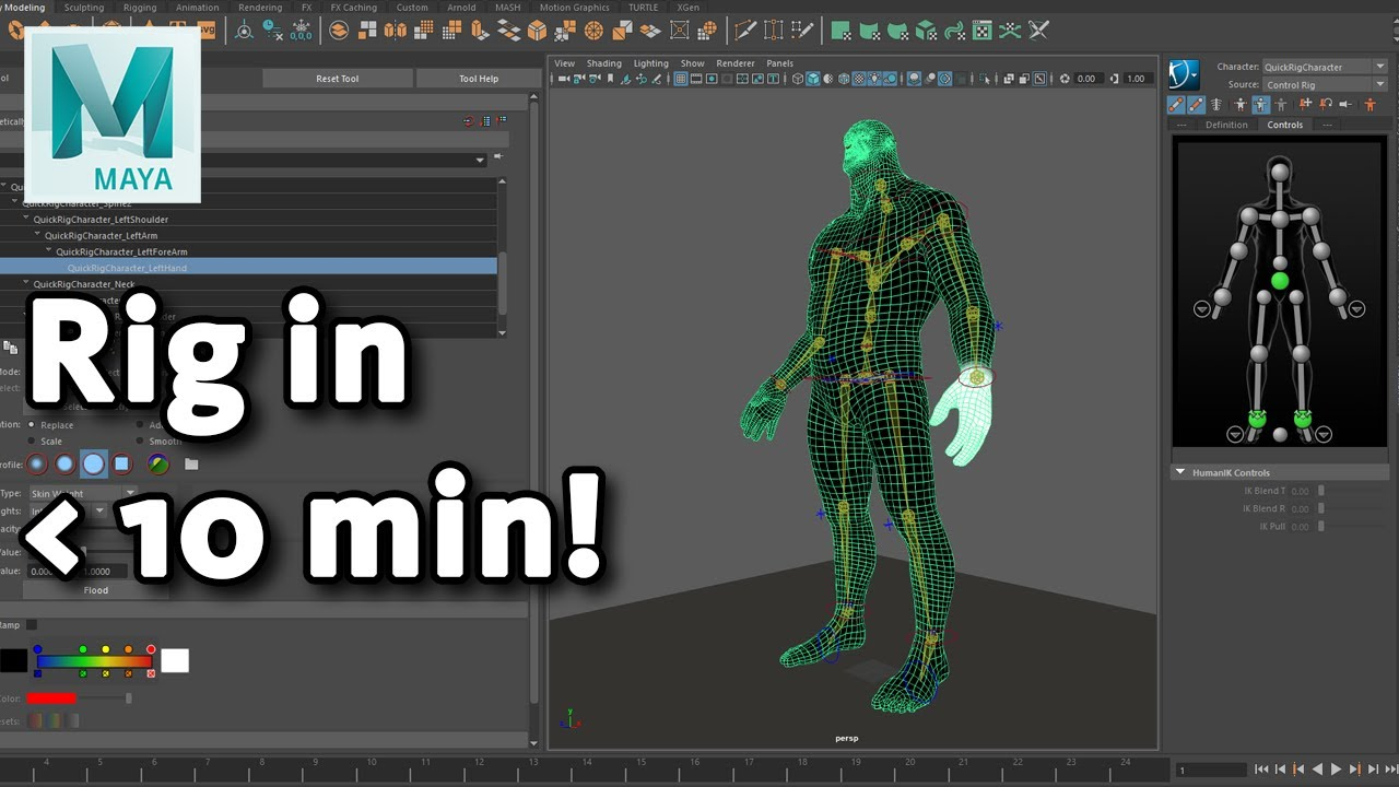 Quick Rigging and Skinning a character - Maya Tutorial