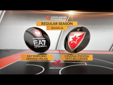 EuroLeague Highlights RS Round 26: EA7 Emporio Armani Milan 71-78 Crvena Zvezda mts Belgrade