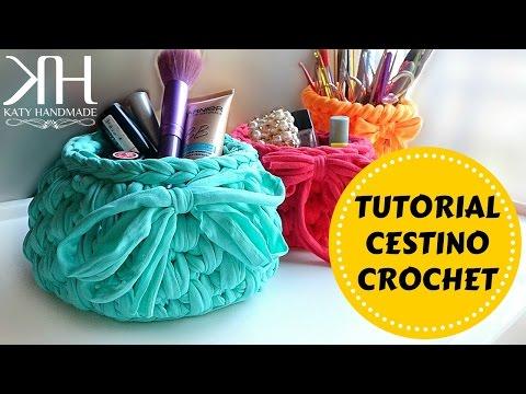Cestino in fettuccia | Crochet basket | Fondo tondo || Katy Handmade