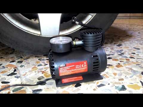Prova mini compressore 12V pompa portatile auto, moto, bici e gonfiabili.