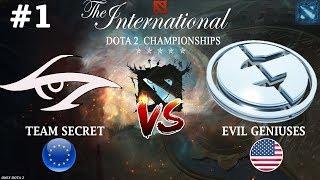 Лютый ЭКШН! | Secret vs EG #1 (BO3) | The International 2018