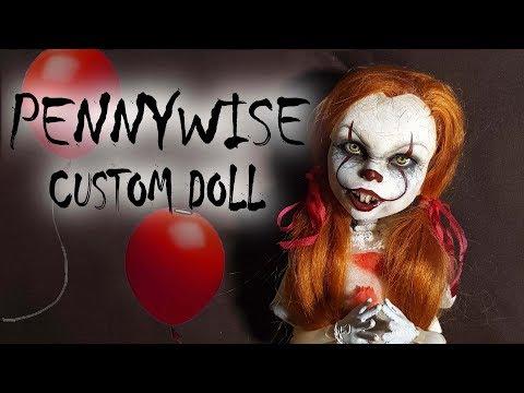 Pennywise Inspired Custom Doll Tutorial // DIY Halloween 'IT' Clown Repaint