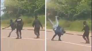 Policjant kontra człowiek z maczetą… podręcznikowa akcja.