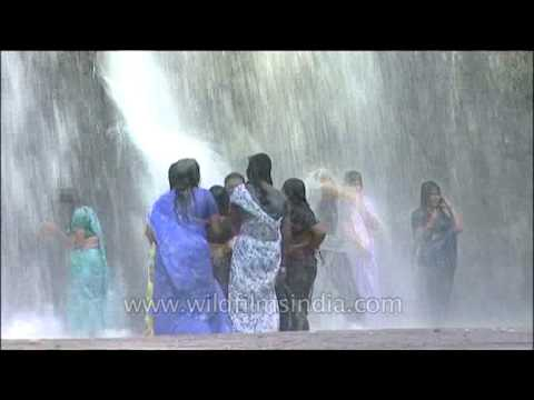 Video Ladies in sarees get wet under waterfalls in Kerala : Thirparappu download in MP3, 3GP, MP4, WEBM, AVI, FLV January 2017
