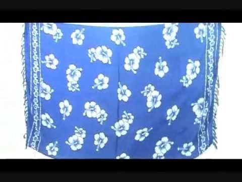 beachwrap cover-up blue hibiscus sarong wholesalesarong.com