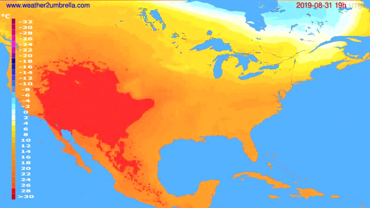 Temperature forecast USA & Canada // modelrun: 12h UTC 2019-08-28