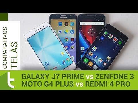 Galaxy J7 Prime, Redmi 4 Pro, Moto G4 Plus e Zenfone 3  Comparativo de telas do TudoCelular