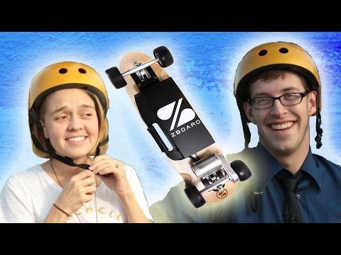 People Ride An Electric Skateboard