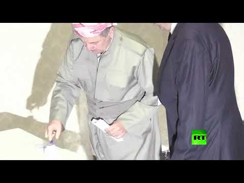 العرب اليوم - رئيس إقليم كردستان العراق مسعود بارزاني يدلي بصوته في استفتاء الانفصال