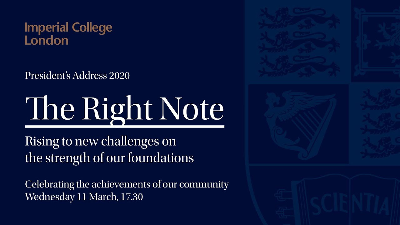 Professor Alice P. Gast delivers her sixth annual address 'The Right Note' on 11 March 2020.