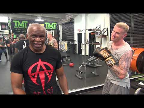 Soccer Player James McClean Training With Floyd Mayweather Sr. At The Mayweather Boxing Club
