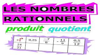 Maths 4ème - Les nombres rationnels Produit et Quotient Exercice 18