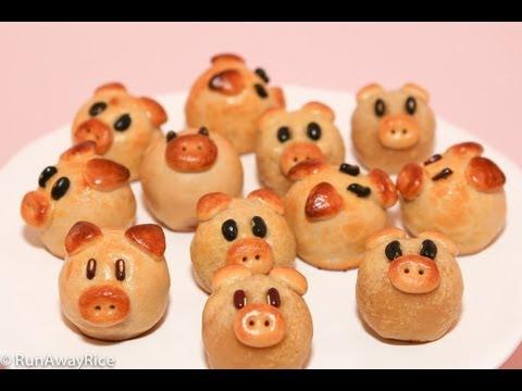 Piggy Mooncakes for Mid-Autumn Festival (Bánh Trung Thu / Bánh Nướng)