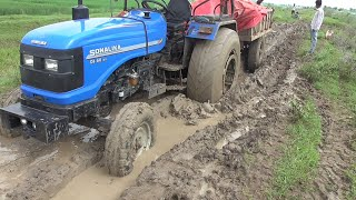 Sonalika 60 Rx Stuck in Mud at Nahar Rescue by Eicher 485