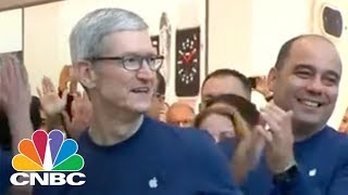 Apple CEO Tim Cook Visits Apple Store On iPhone X Launch | CNBC