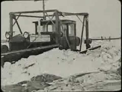 Snow Removal with Caterpillar Tractors (circa 1926)