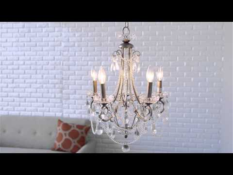 Video for Distressed Silver Five-Light Mini Chandelier