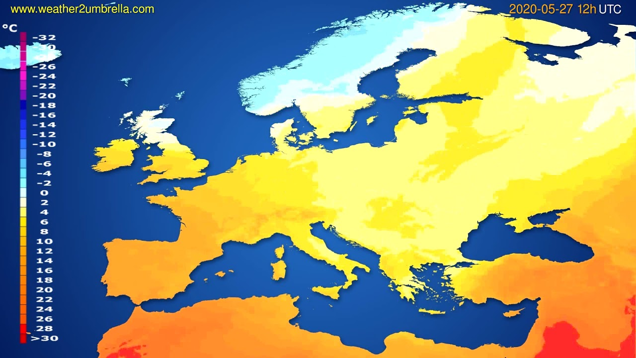 Temperature forecast Europe // modelrun: 00h UTC 2020-05-27