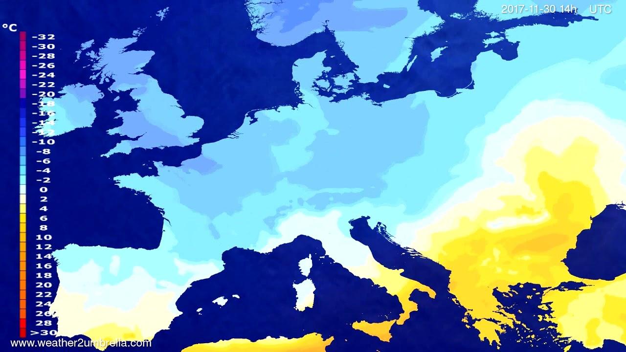 Temperature forecast Europe 2017-11-28