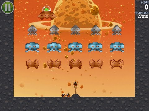 Angry Birds Space Level 1-9 Eggsteroid and Level E-1 3-Star Walkthrough iPhone/iPod/iPad (видео)