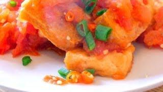 Fried tofu in tomato sauce - Dau phu sot ca chua