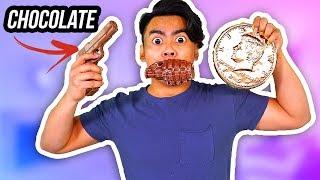CHOCOLATE FOOD VS REAL FOOD 3! (Chocolate Gun, Grenade, Giant Penny)