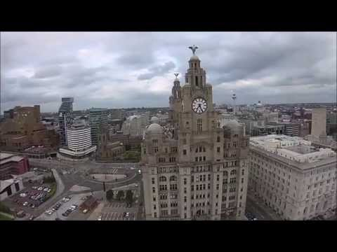 Fly By Of The Pier Head And Liver Birds, Liverpool - 21st July 2015 (The Four Squares)