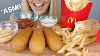 Crispy CORN DOGS and Crunchy McDONALD'S FRENCH FRIES ASMR | Eating Sounds *No Talking