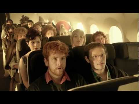 flight attendant jumps - Air New Zealand partnered with WETA Workshop on a brand new Hobbit inspired Safety Video. It features cameo appearances including Sir Peter Jackson.