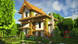 Minecraft: How To Build A Survival Starter House Tutorial (Cute Cottage) Relaxing ASMR.