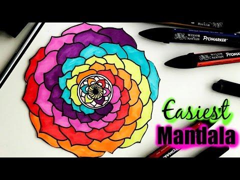 *EASIEST MANDALA* that Everyone Can Draw/ /Beginners Art / /