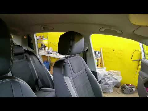 """Чехлы на Volkswagen Tiguan, серии """"Aurora"""" - серая строчка, серые лепестки"""