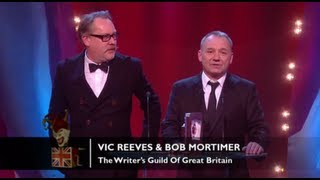 Congratulations to Vic Reeves & Bob Mortimer for winning the Writer's Guild of Great Britain award!The concept for the Awards was originally devised and produced by British TV legend, Michael Hurll to promote homegrown comedy talent. The original show was presented by Michael Parkinson and winners included VICTORIA WOOD as Best Live Stand-up, PAULINE QUIRKE as Best TV Comedy Newcomer, and DROP THE DEAD DONKEY as the Best New TV Comedy. Other winners included RUSS ABBOTT, CLIVE JAMES & ROWAN ATKINSON.http://www.britishcomedyawards.com/https://twitter.com/comedyawardshttp://www.facebook.com/pages/British-Comedy-Awards/160295097348405