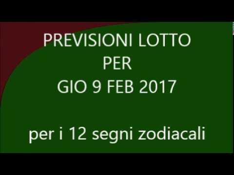 Previsioni per il Lotto ★ Estrazione Giovedì 9 Febbraio 2017