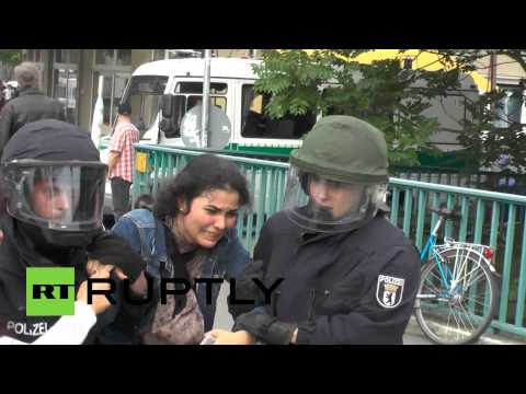 raw - German police cracked down on pro-Palestine protesters resulting in at least five arrests following demonstration in Berlin on Monday. Protesters gathered in front of the Israeli embassy to...