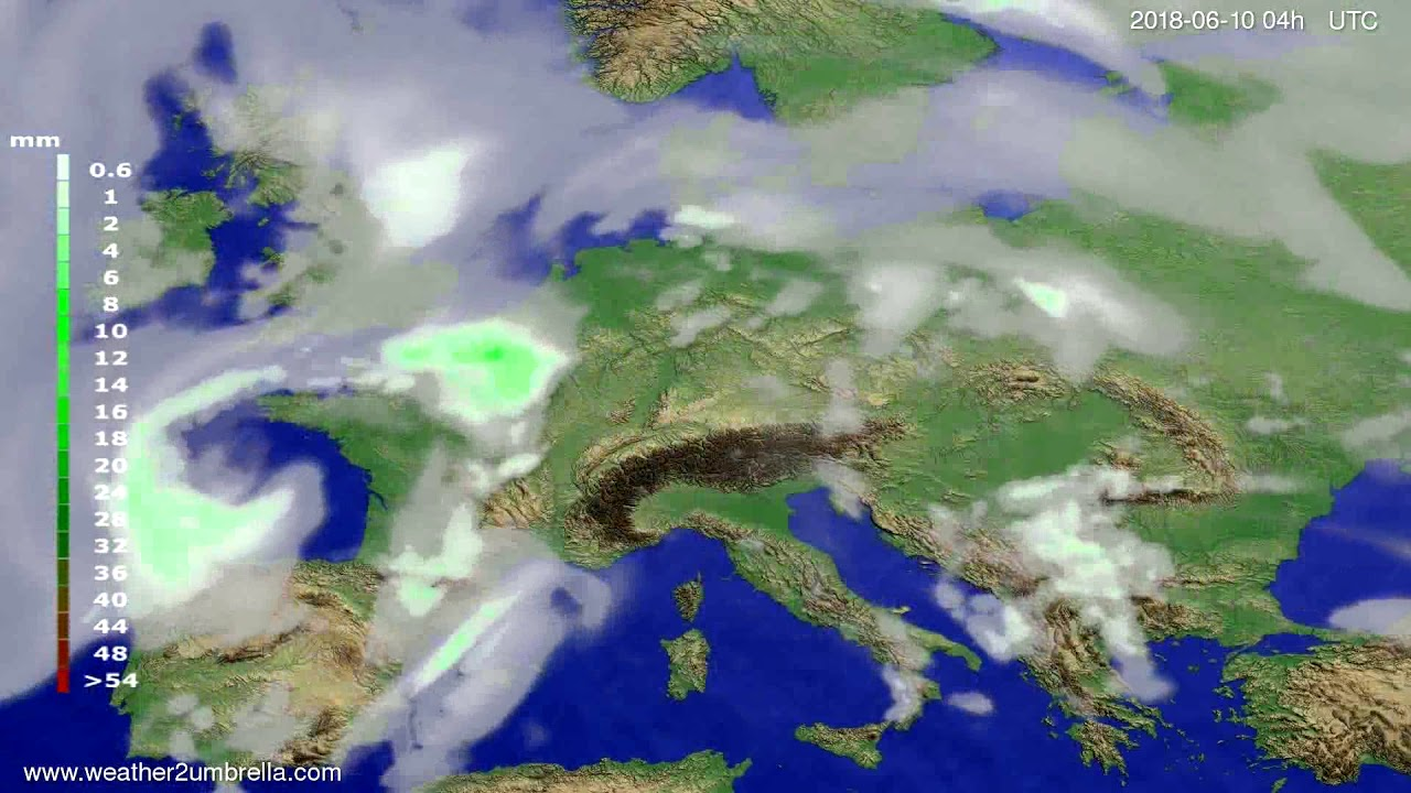 Precipitation forecast Europe 2018-06-06