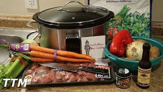 In this crock pot recipe, I make some beef stew in my Cosori slow cooker. The ingredients I used are a package of beef stew meat, 2 quarts of water, 3 tablespoons of beef base or bouillon, 1/2 tablespoon of Worcestershire sauce,  1 onion, 4 stalks of celery, 1 lb of carrots, 8 potatoes, 1 red bell pepper, and salt and pepper to taste. To thicken the sauce, I used 1/3 cup of butter, and 1/3 cup of all-purpose flour, and browned it for about 2-3 minutes over low heat, before adding 2 cups of water and some beef base. Keep stirring over low heat until it looks smooth and all of the lumps are out of it. Cook on high for about 30 minutes after adding it back to the slow cooker. Subscribe here for new videos. https://www.youtube.com/user/TosTinMannBuy a Cosori Slow Cooker here. http://amzn.to/2tgwCw3Like TosTinMan EasyCooking on Facebook. https://www.facebook.com/tostinman/?fref=tsInstagram-https://www.instagram.com/tostinmaneasycooking/
