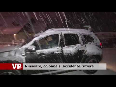 Ninsoare, coloane și accidente rutiere
