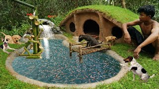 Rescue and Collect Abandoned Puppies Building Mud Dog House and Fish Pond for 500 Red Fishes