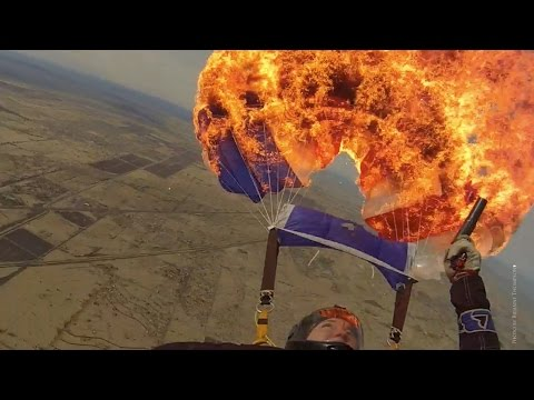 Watch This Skydiver Kills A Parachute With Fire